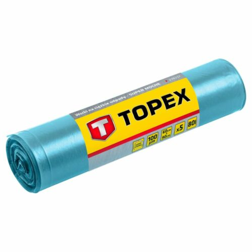 Szemetesszák 80 l, Nagy teherbírású, kék, 5 db, méretek:60x90 cm, vastagság: 100 mic, LDPE fólia   TOPEX 23B257
